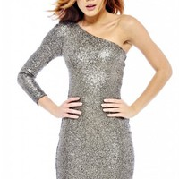 One Shoulder Metallic Sequin Dress
