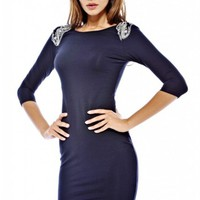 Shoulder Embellished Bodycon Dress