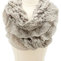 RUFFLED LUREX KNIT INFINITY SCARF