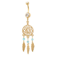 Morbid Metals 14G Gold Tone Dreamcatcher Navel Barbell
