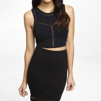 MESH CUT-OUT CROPPED TOP