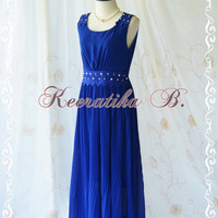Keeratika B - Formal Maxi Dress Floor Length Dress Royal Blue Dress Pleated Skirt Party Dress Cocktail Dress Prom Dress Wedding Dress