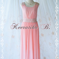 Keeratika B - Formal Maxi Dress Floor Length Dress Pink Brush Dress Pleated Skirt Party Dress Cocktail Dress Prom Dress Wedding Dress