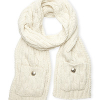 VINCE CAMUTO Ivory Cable Muffler with Pocket