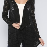Draped Front Lace Cardigan, Black