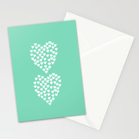 Hearts Heart x2 Mint Stationery Cards by Project M