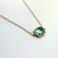 Dainty Prasiolite Green Necklace Gold Filled Chain - Bridesmaid Necklace - Wedding Jewelry - Christmas Gift - Gift under 20