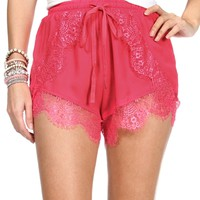 Hot Pink Lace Jogger Shorts