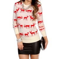 Tan/Red Reindeer Sweater