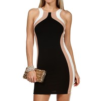 Black/Taupe/Ivory Colorblock Short Dress