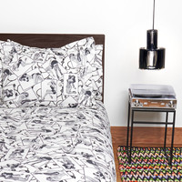 Sin in Linen: Pinup Girl Duvet Cover King