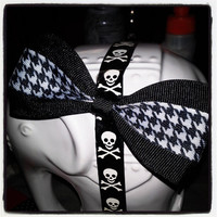 Black and White Houndstooth Hair Bow with Black Trim