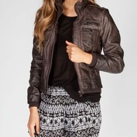 FULL TILT Womens Knit Inset Faux Leather Jacket