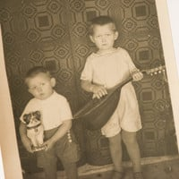 Antique photograph little musicians photo kids toys music instrument black/white photo Europe