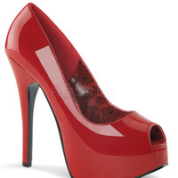 Red Patent Leather Peep Toe Teeze Pumps