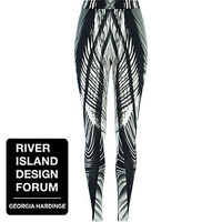 BLACK GEORGIA HARDINGE ABSTRACT LEGGINGS