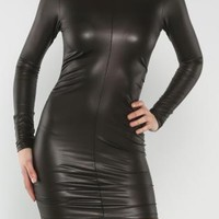 Black Faux Leather Long Sleeve Bodycon Dress