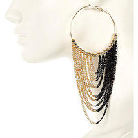 BLACK AND GOLD TONE CHAIN HOOP EARRINGS
