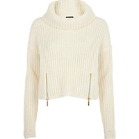 CREAM ROLL NECK CROPPED SWEATER
