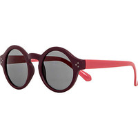 DARK RED COLOR BLOCK ROUND SUNGLASSES
