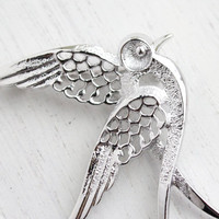 Vintage Bird Brooch - Signed Sarah Coventry Silver Tone Dove Costume Jewelry / Peace Bird in Flight