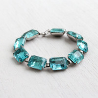 Antique Sterling Silver Blue Stone Bracelet - Vintage Art Deco 1930s 1940s Linked Panel Jewelry - Aquamarine Blue Glass