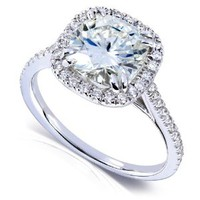 2 1/4ct TW Cushion Cut Moissanite and Diamond Engagement Ring in 14k White Gold