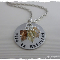 Hunger Games Inspired - Hand Stamped - Fire Is Catching with swarovski crystals
