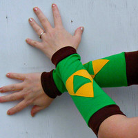 The Legend of zelda Link Triforce inspired Arm Warmer Gloves gamer Cosplay Costume