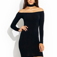 Cold-Shoulders-Y-Back-Dress BLACK - GoJane.com
