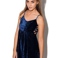Blue Velvet Sleeveless Dress with Lattice Side Detail