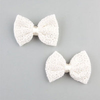 FULL TILT 2 Piece Crochet Bow Hair Clips