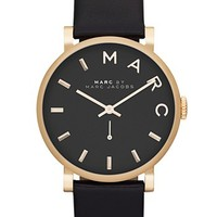 MARC BY MARC JACOBS 'Baker' Leather Strap Watch, 37mm