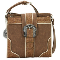 Bandana Women's Portland Organized Crossbody - Saddle Tan/Cream