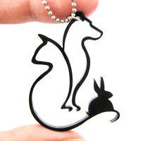 Dog Cat and Bunny Animal Silhouette Outline Necklace in Black Acrylic