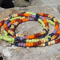 Long Beaded Necklace or Wrap Bracelet - Boho Fruit Bites