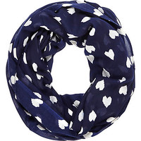 NAVY HEART PRINT LIGHTWEIGHT SNOOD