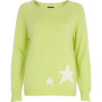 LIME STAR PRINT ANGORA-BLEND JUMPER