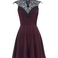 AX Paris Purple Lace High Neck Skater Dress