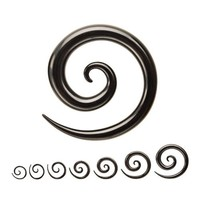 Acrylic Spirals - 14g -Black - Sold as Pairs