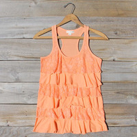 Spool Basics Ruffle Tank in Peach