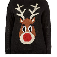 Inspire Black Reindeer Light Up Christmas Jumper