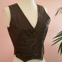 Ladies Short Chocolate Brown Leather Vest Size Small