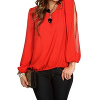 Red Studded Sleeve Top