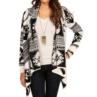 IvoryBlack Tribal Drape Front Sweater