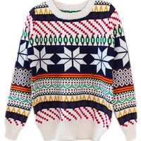 ROMWE | ROMWE Snows Print Colorful Stripe Apricot Jumper, The Latest Street Fashion