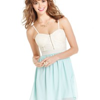 Ali & Kris Juniors Dress, Spaghetti-Strap Lace Bustier