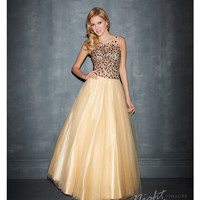 (PRE-ORDER) Night Moves by Allure 2014 Prom: Nude Tulle & Multi Colour Beaded Prom Dress