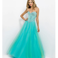 (PRE-ORDER) Blush 2014 Prom Dresses - Aquamarine Beaded Stone Strapless Sweetheart Tulle Prom Dress