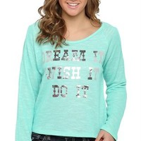 Long Sleeve Top with Cold Shoulder Cutouts and Dream, Wish Screen